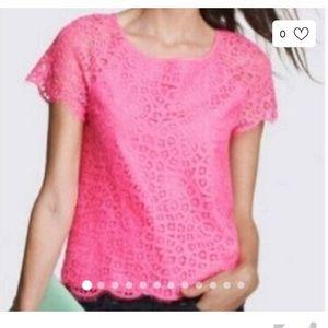 J. Crew pink lace top, 10 EUC